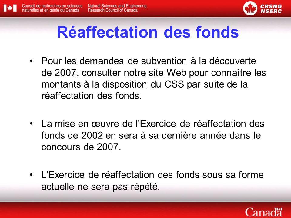 Réaffectation des fonds Pour les demandes de subvention à la découverte de 2007, consulter notre site Web pour connaître les montants à la disposition du CSS par suite de la réaffectation des fonds.