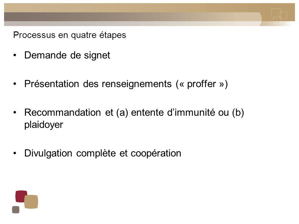 Processus en quatre étapes Demande de signet Présentation des renseignements (« proffer ») Recommandation et (a) entente d'immunité ou (b) plaidoyer D