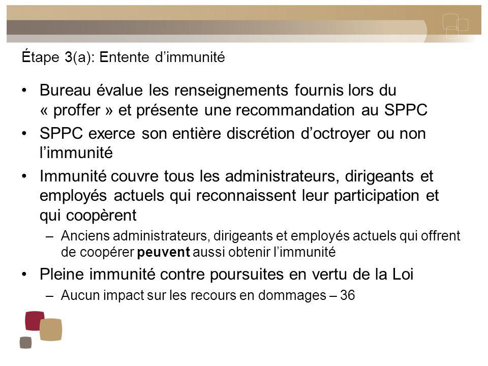 Étape 3(a): Entente d'immunité Bureau évalue les renseignements fournis lors du « proffer » et présente une recommandation au SPPC SPPC exerce son ent