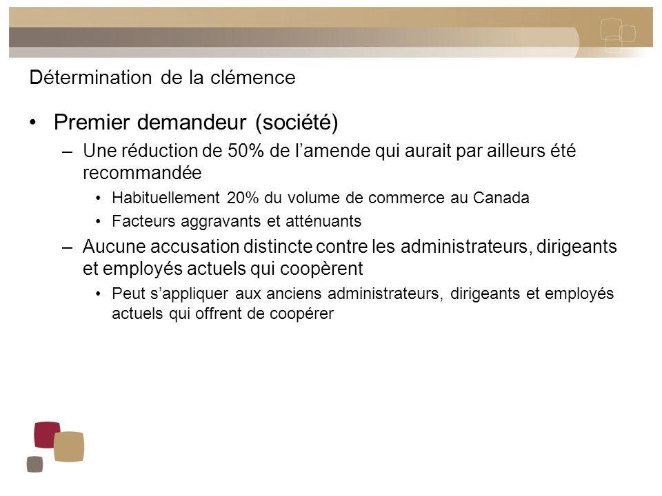 Détermination de la clémence Premier demandeur (société) –Une réduction de 50% de l'amende qui aurait par ailleurs été recommandée Habituellement 20%