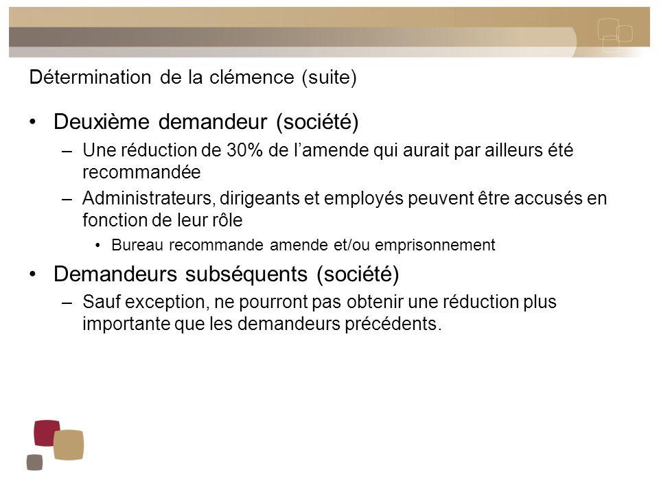 Détermination de la clémence (suite) Deuxième demandeur (société) –Une réduction de 30% de l'amende qui aurait par ailleurs été recommandée –Administr