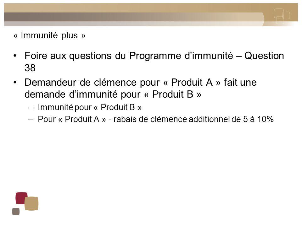 « Immunité plus » Foire aux questions du Programme d'immunité – Question 38 Demandeur de clémence pour « Produit A » fait une demande d'immunité pour