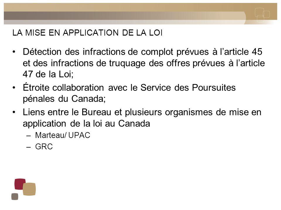 LA MISE EN APPLICATION DE LA LOI Détection des infractions de complot prévues à l'article 45 et des infractions de truquage des offres prévues à l'art