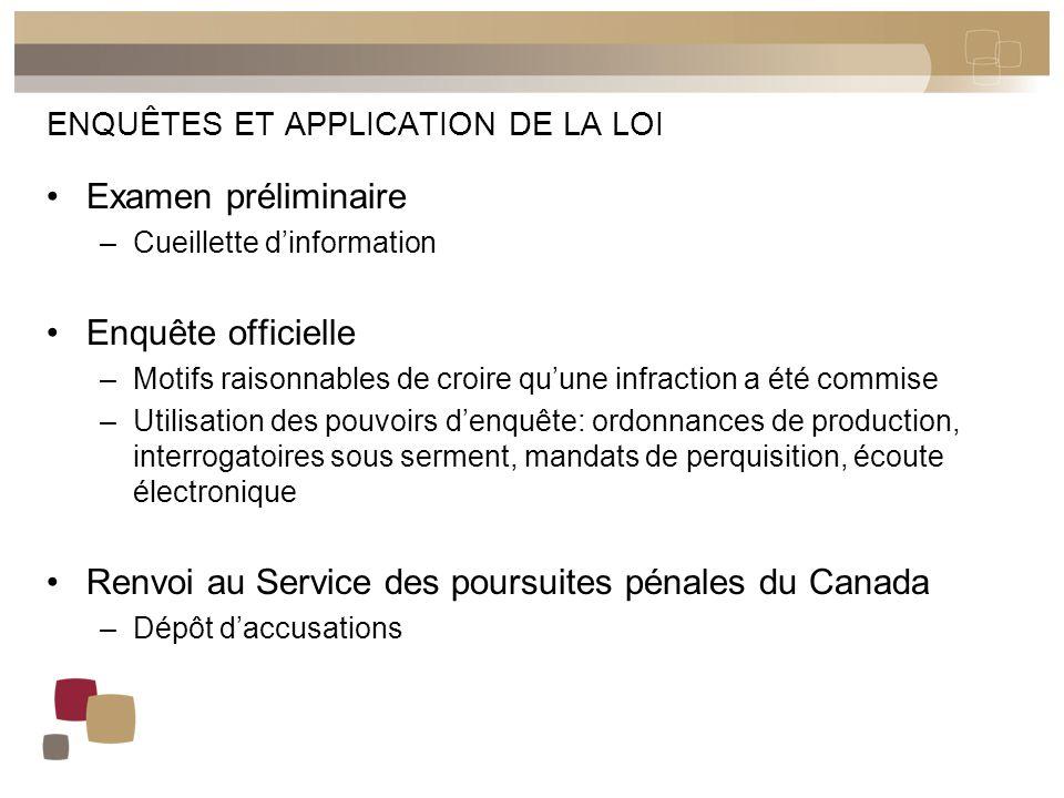 ENQUÊTES ET APPLICATION DE LA LOI Examen préliminaire –Cueillette d'information Enquête officielle –Motifs raisonnables de croire qu'une infraction a