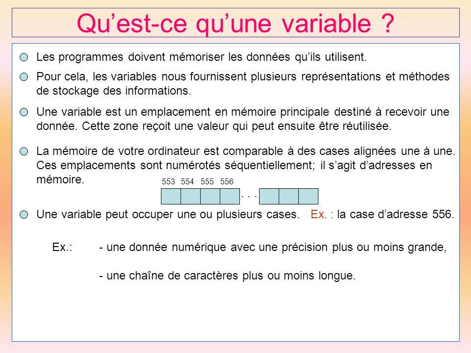 11 Qu'est-ce qu'une variable ? Les programmes doivent mémoriser les données qu'ils utilisent. Pour cela, les variables nous fournissent plusieurs repr