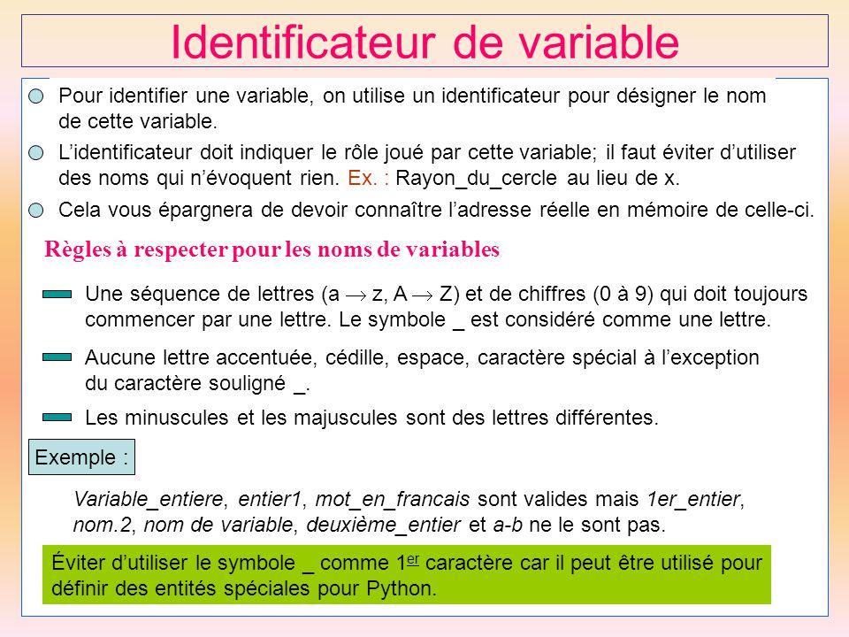 14 Identificateur de variable Pour identifier une variable, on utilise un identificateur pour désigner le nom de cette variable. Cela vous épargnera d