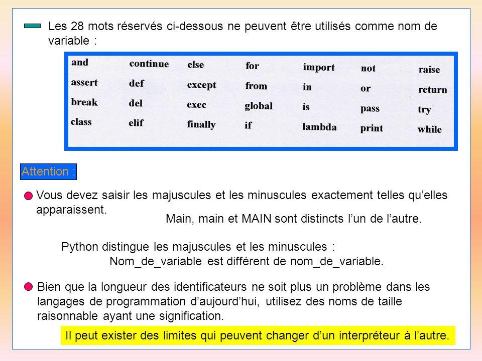 15 Les 28 mots réservés ci-dessous ne peuvent être utilisés comme nom de variable : Attention : Vous devez saisir les majuscules et les minuscules exa