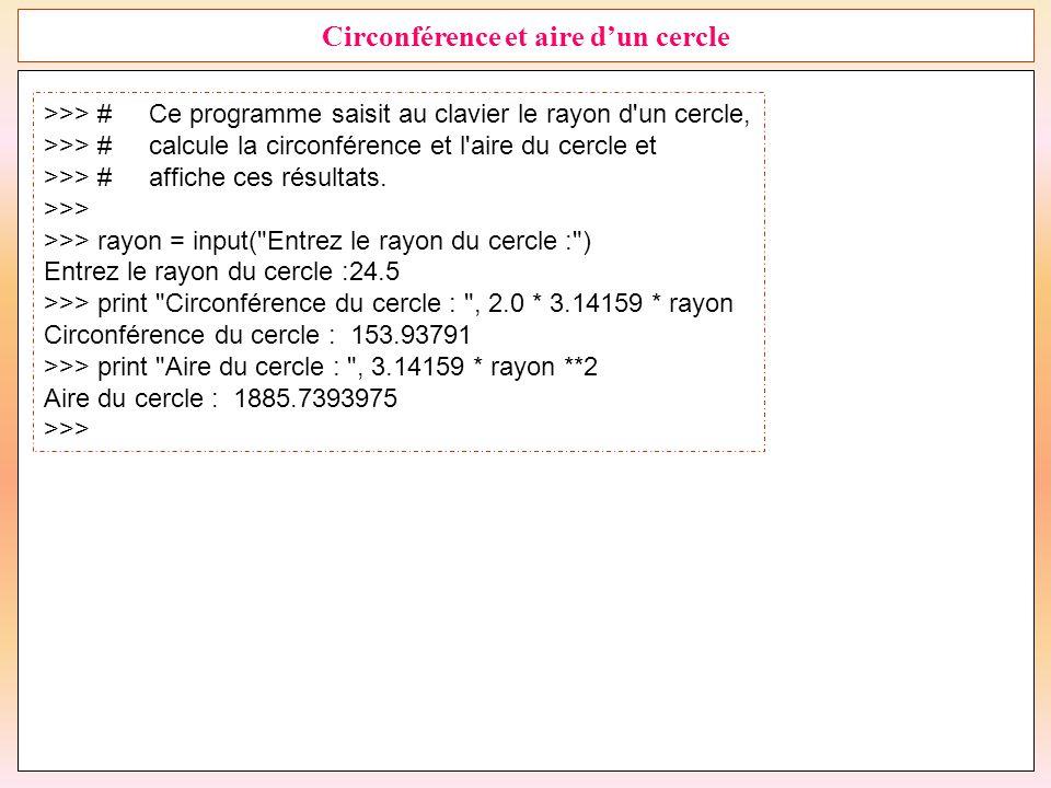 26 Circonférence et aire d'un cercle >>> #Ce programme saisit au clavier le rayon d'un cercle, >>> #calcule la circonférence et l'aire du cercle et >>