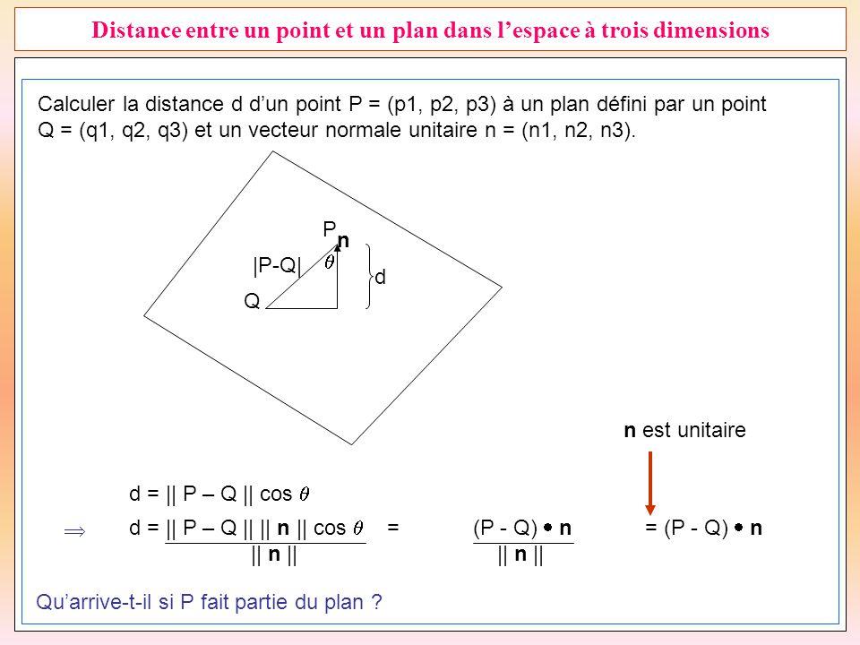 27 Distance entre un point et un plan dans l'espace à trois dimensions Calculer la distance d d'un point P = (p1, p2, p3) à un plan défini par un poin