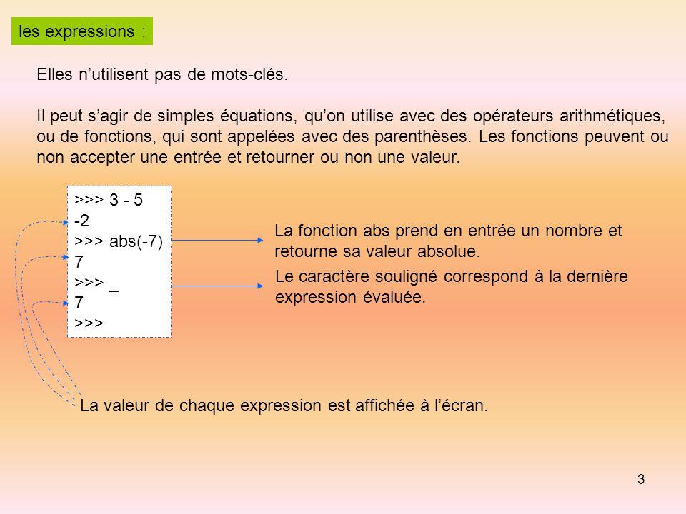 3 les expressions : Elles n'utilisent pas de mots-clés. Il peut s'agir de simples équations, qu'on utilise avec des opérateurs arithmétiques, ou de fo