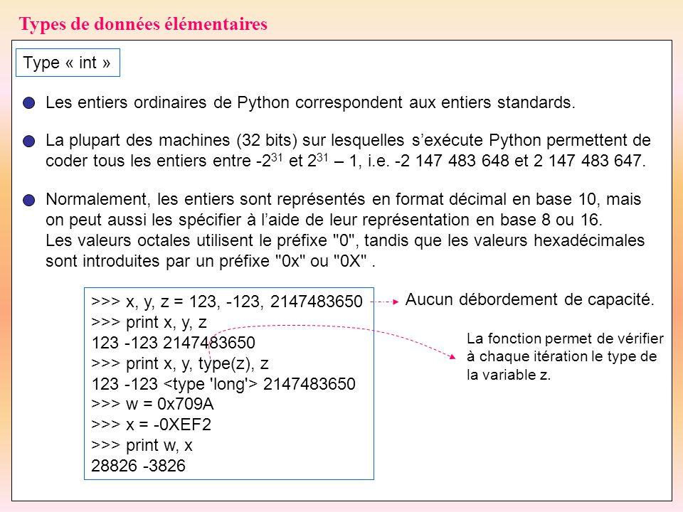 31 Types de données élémentaires Type « int » Les entiers ordinaires de Python correspondent aux entiers standards. La plupart des machines (32 bits)