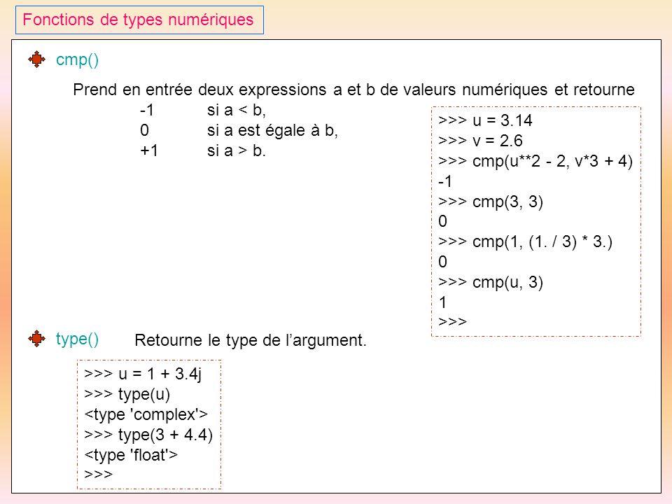 37 Fonctions de types numériques cmp() Prend en entrée deux expressions a et b de valeurs numériques et retourne -1si a < b, 0si a est égale à b, +1si