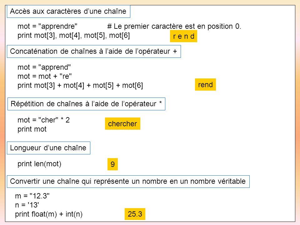 46 Accès aux caractères d'une chaîne mot =