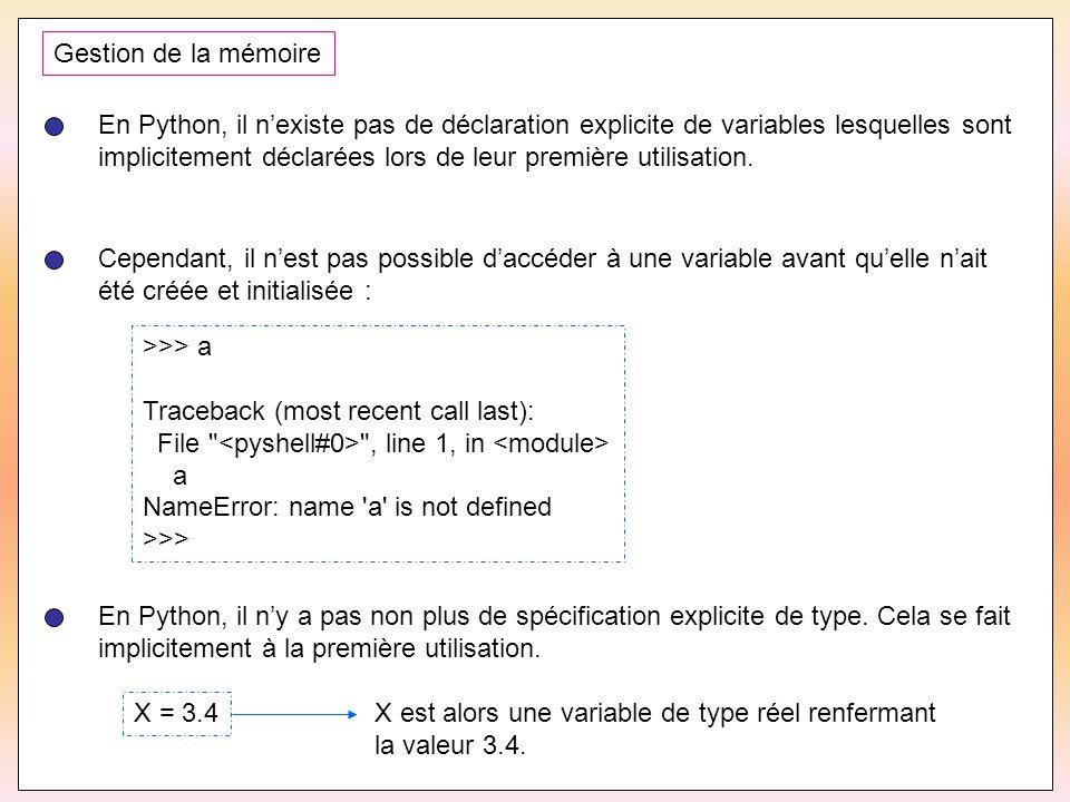 48 Gestion de la mémoire En Python, il n'existe pas de déclaration explicite de variables lesquelles sont implicitement déclarées lors de leur premièr