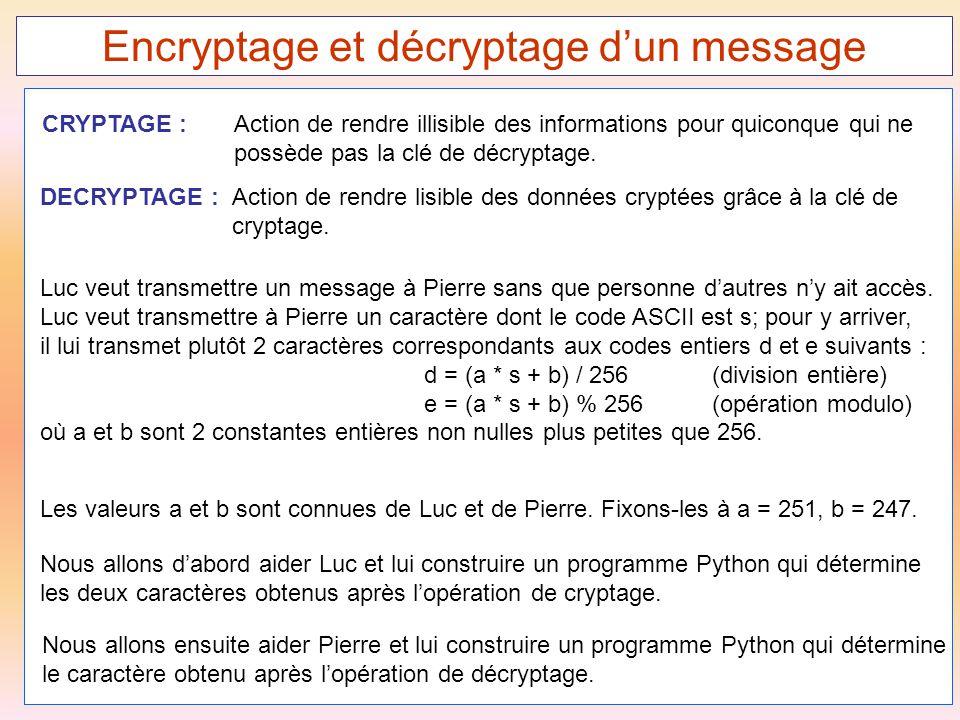 50 Encryptage et décryptage d'un message DECRYPTAGE :Action de rendre lisible des données cryptées grâce à la clé de cryptage. CRYPTAGE : Action de re