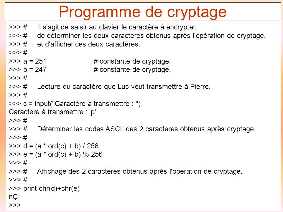 51 Programme de cryptage >>> #Il s'agit de saisir au clavier le caractère à encrypter, >>> #de déterminer les deux caractères obtenus après l'opératio