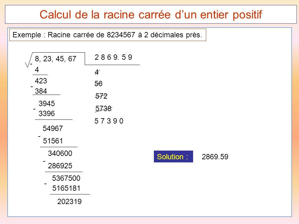 55 Calcul de la racine carrée d'un entier positif 8, 23, 45, 67 Exemple : Racine carrée de 8234567 à 2 décimales près. 2 8 6 9. 5 9 4 - 423 4 384 - 39