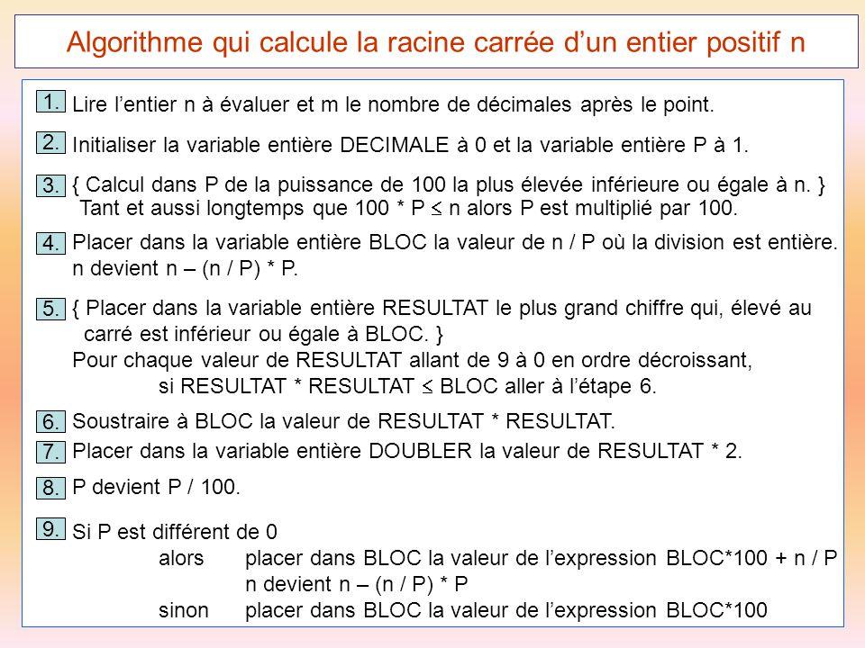 56 Algorithme qui calcule la racine carrée d'un entier positif n 1. Lire l'entier n à évaluer et m le nombre de décimales après le point. 3. { Calcul