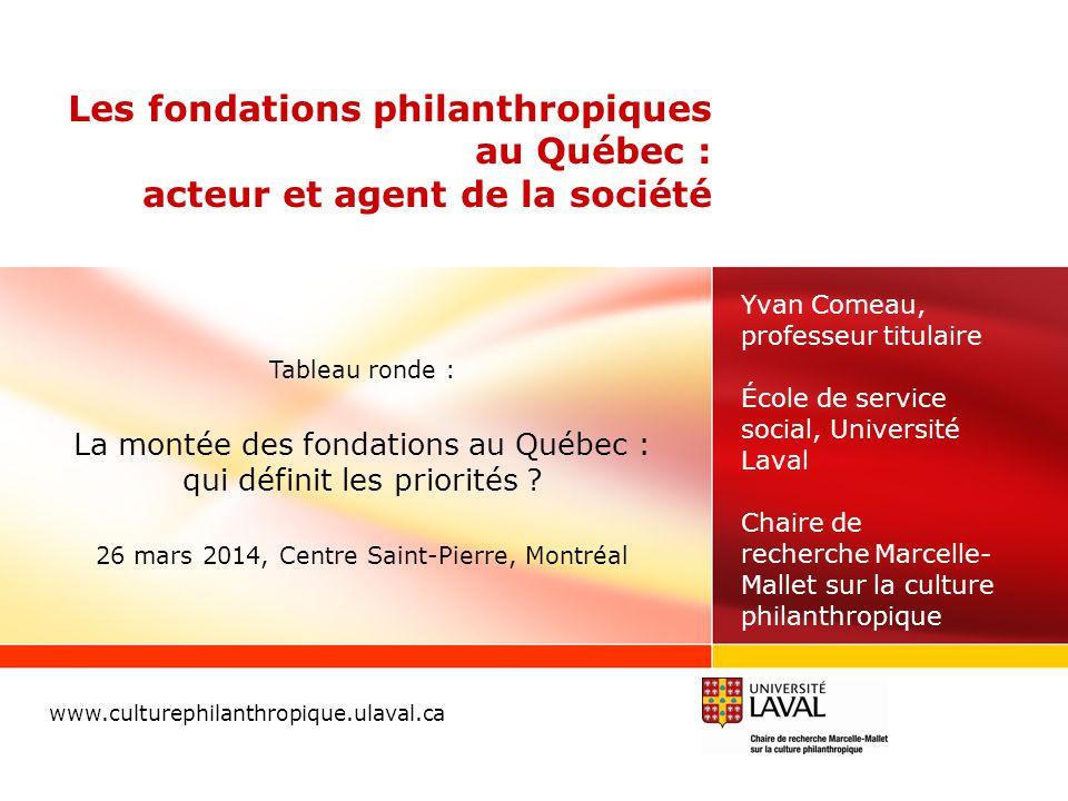 Les fondations philanthropiques au Québec : acteur et agent de la société www.culturephilanthropique.ulaval.ca Yvan Comeau, professeur titulaire École