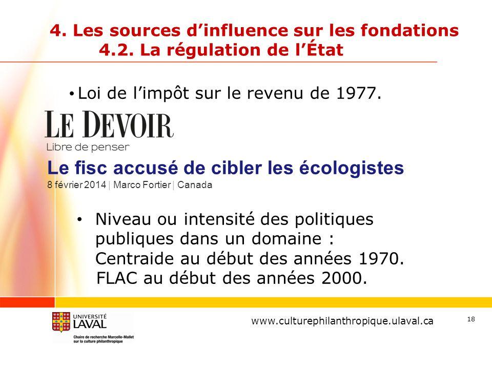 www.ulaval.ca 18 4. Les sources d'influence sur les fondations 4.2. La régulation de l'État Loi de l'impôt sur le revenu de 1977. www.culturephilanthr