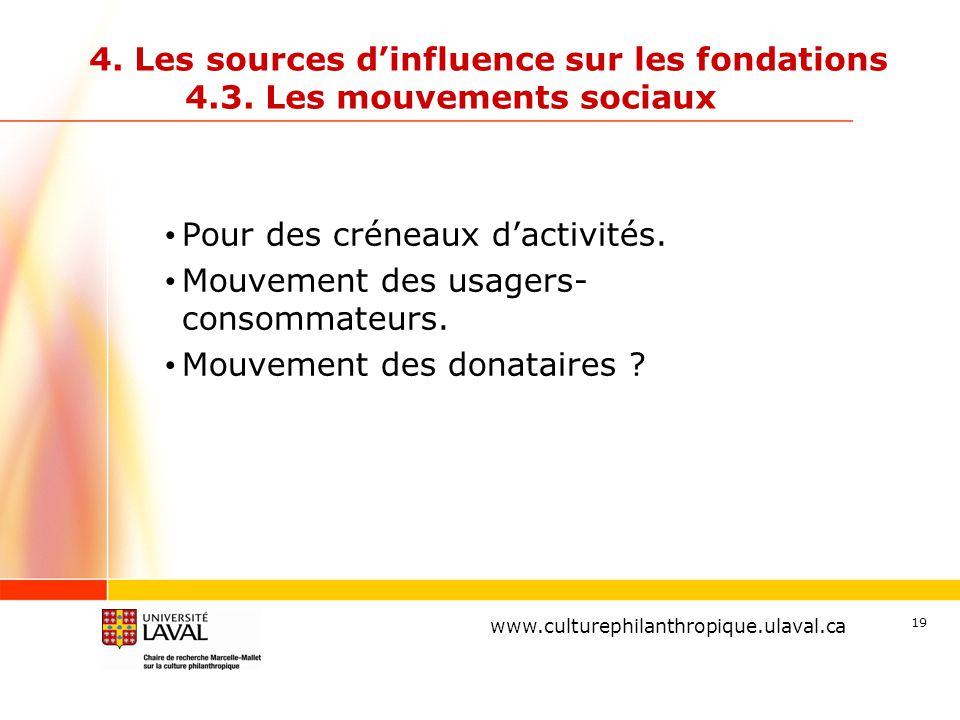 www.ulaval.ca 4. Les sources d'influence sur les fondations 4.3. Les mouvements sociaux Pour des créneaux d'activités. Mouvement des usagers- consomma