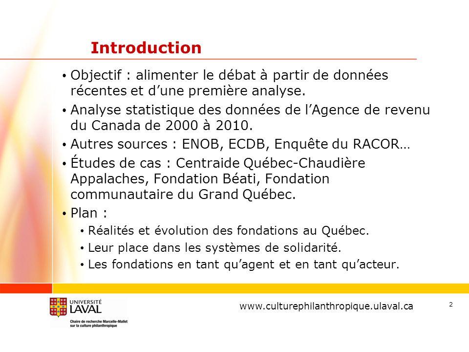 www.ulaval.ca 2 Introduction Objectif : alimenter le débat à partir de données récentes et d'une première analyse. Analyse statistique des données de
