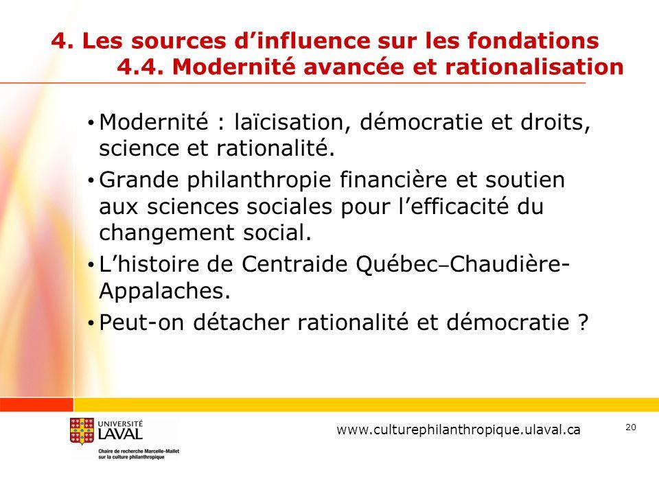 www.ulaval.ca 20 4. Les sources d'influence sur les fondations 4.4. Modernité avancée et rationalisation Modernité : laïcisation, démocratie et droits