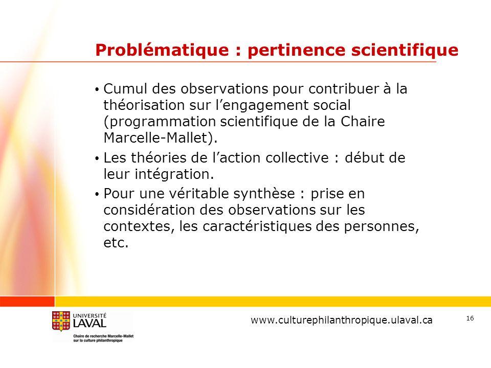 www.ulaval.ca 16 Problématique : pertinence scientifique Cumul des observations pour contribuer à la théorisation sur l'engagement social (programmation scientifique de la Chaire Marcelle-Mallet).