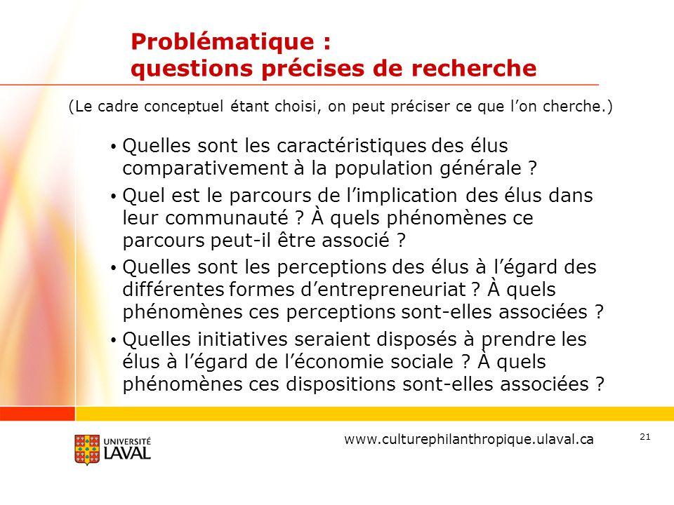 www.ulaval.ca Problématique : questions précises de recherche Quelles sont les caractéristiques des élus comparativement à la population générale ? Qu
