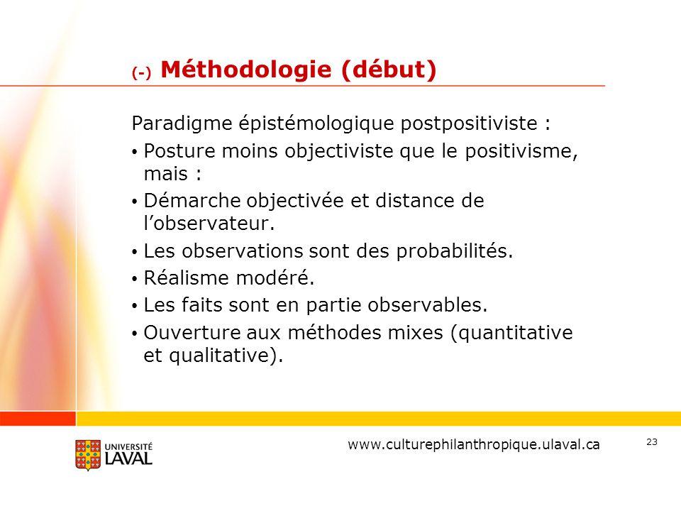 www.ulaval.ca (-) Méthodologie (début) Paradigme épistémologique postpositiviste : Posture moins objectiviste que le positivisme, mais : Démarche objectivée et distance de l'observateur.