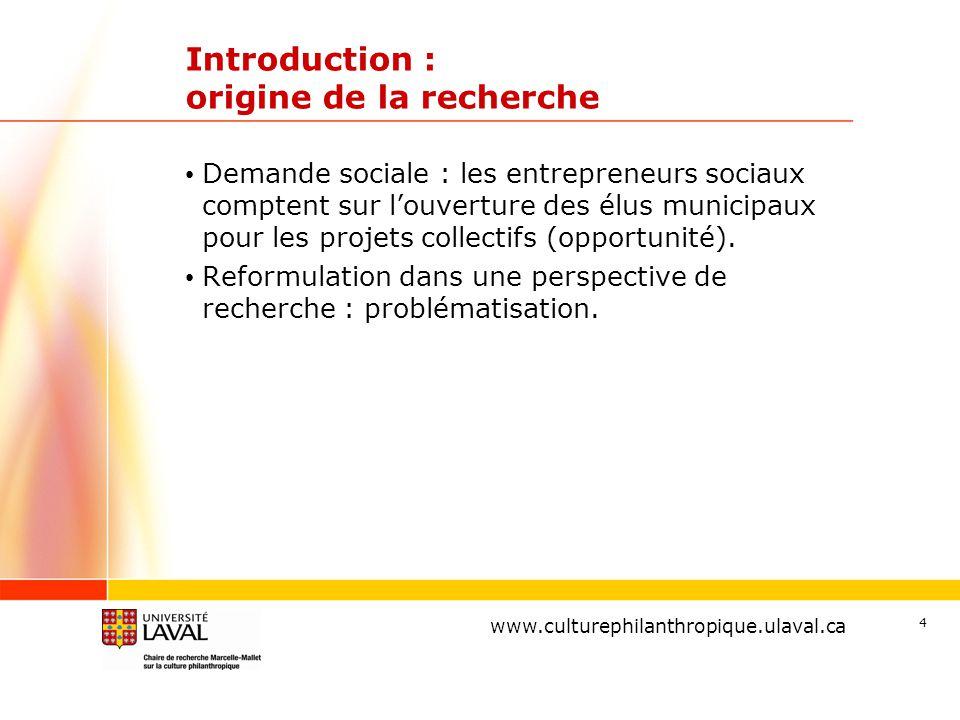 www.ulaval.ca 4 Introduction : origine de la recherche Demande sociale : les entrepreneurs sociaux comptent sur l'ouverture des élus municipaux pour les projets collectifs (opportunité).