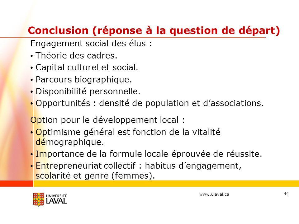www.ulaval.ca Conclusion (réponse à la question de départ) Engagement social des élus : Théorie des cadres. Capital culturel et social. Parcours biogr