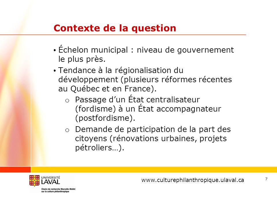 www.ulaval.ca 7 Contexte de la question Échelon municipal : niveau de gouvernement le plus près. Tendance à la régionalisation du développement (plusi
