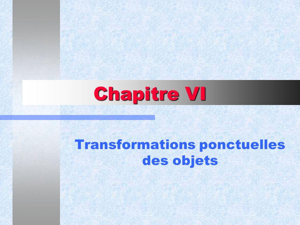 Chapitre VI Transformations ponctuelles des objets