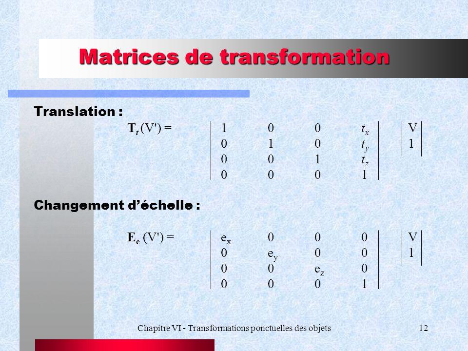 Chapitre VI - Transformations ponctuelles des objets12 Matrices de transformation Translation : T t (V') = 100t x V 010t y 1 001t z 0001 Changement d'