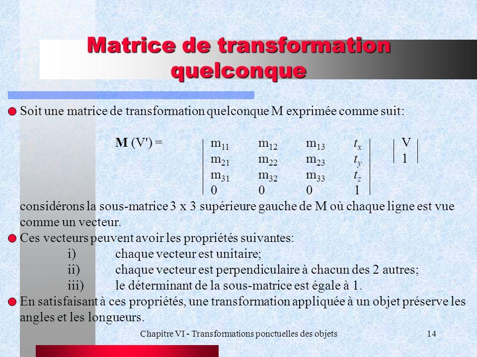 Chapitre VI - Transformations ponctuelles des objets14 Matrice de transformation quelconque Soit une matrice de transformation quelconque M exprimée c