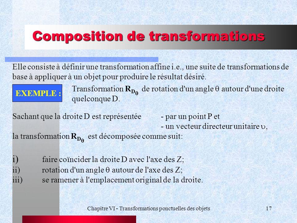 Chapitre VI - Transformations ponctuelles des objets17 Composition de transformations Elle consiste à définir une transformation affine i.e., une suit
