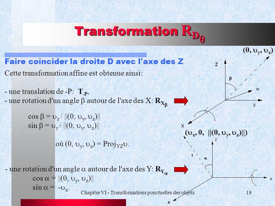 Chapitre VI - Transformations ponctuelles des objets18 Transformation R D  Faire coïncider la droite D avec l'axe des Z cos  =  z / ||(0,  y,  z