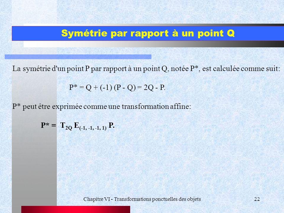 Chapitre VI - Transformations ponctuelles des objets22 Symétrie par rapport à un point Q La symétrie d'un point P par rapport à un point Q, notée P*,