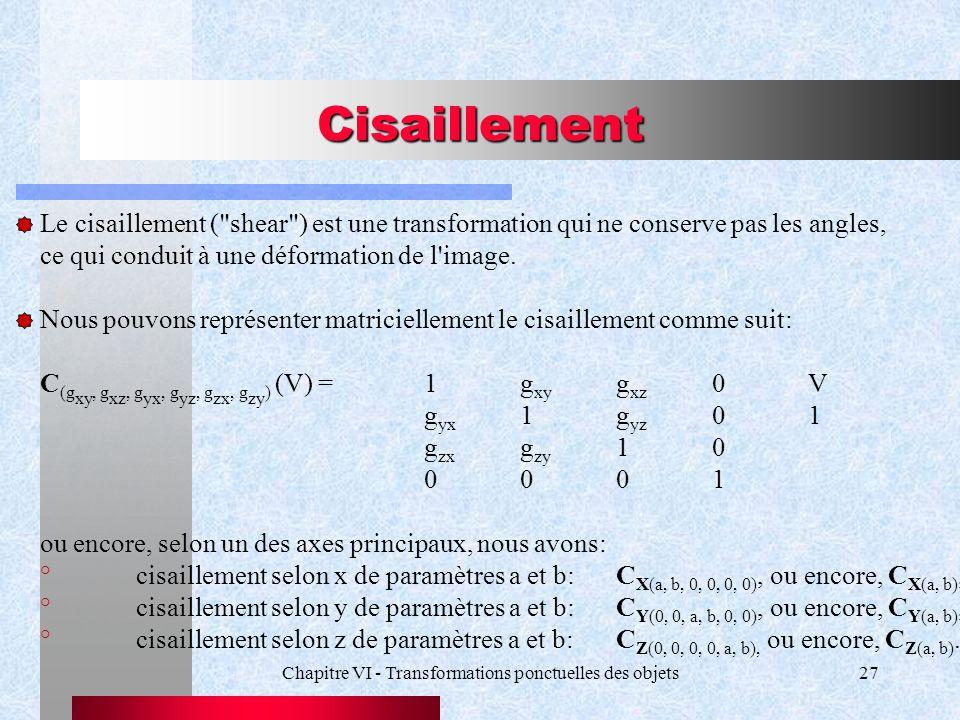 Chapitre VI - Transformations ponctuelles des objets27 Cisaillement Le cisaillement (