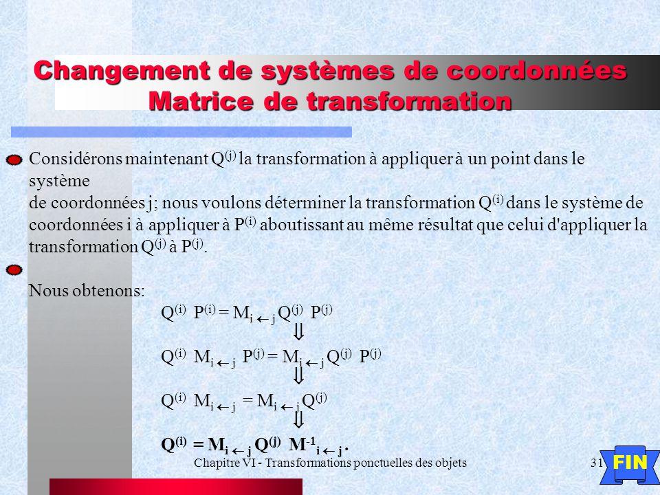 Chapitre VI - Transformations ponctuelles des objets31 Changement de systèmes de coordonnées Matrice de transformation Considérons maintenant Q (j) la