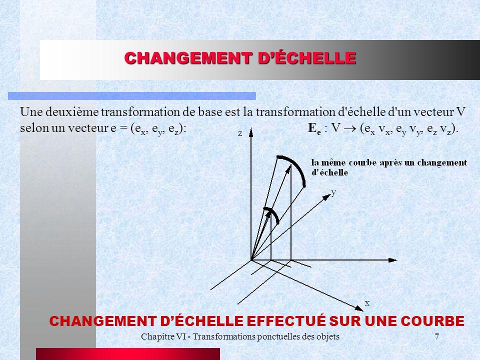 Chapitre VI - Transformations ponctuelles des objets7 CHANGEMENT D'ÉCHELLE Une deuxième transformation de base est la transformation d'échelle d'un ve