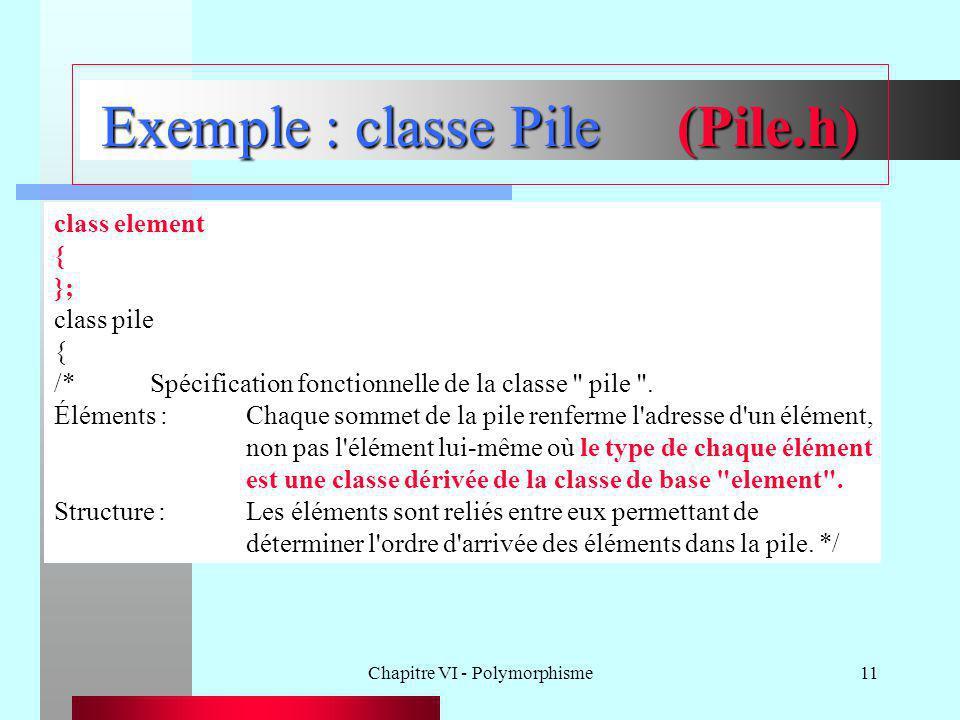 Chapitre VI - Polymorphisme11 Exemple : classe Pile(Pile.h) class element { }; class pile { /*Spécification fonctionnelle de la classe