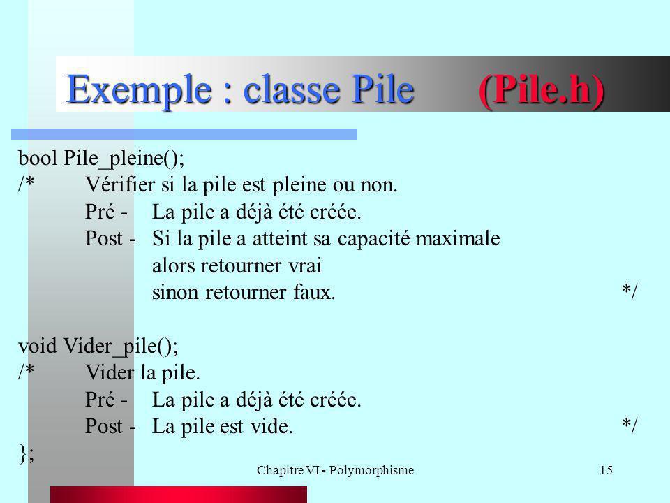 Chapitre VI - Polymorphisme15 Exemple : classe Pile (Pile.h) bool Pile_pleine(); /*Vérifier si la pile est pleine ou non. Pré -La pile a déjà été créé