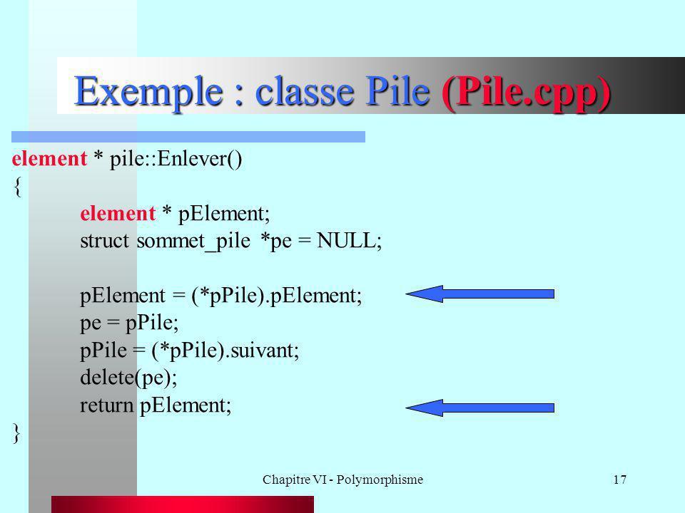 Chapitre VI - Polymorphisme17 Exemple : classe Pile (Pile.cpp) element * pile::Enlever() { element * pElement; struct sommet_pile *pe = NULL; pElement