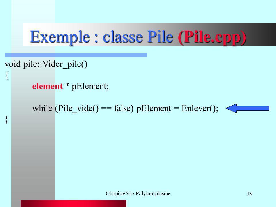 Chapitre VI - Polymorphisme19 Exemple : classe Pile (Pile.cpp) void pile::Vider_pile() { element * pElement; while (Pile_vide() == false) pElement = E