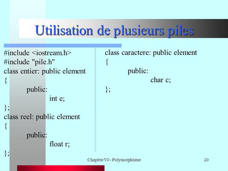 Chapitre VI - Polymorphisme20 Utilisation de plusieurs piles #include #include