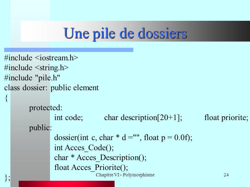 Chapitre VI - Polymorphisme24 Une pile de dossiers #include #include