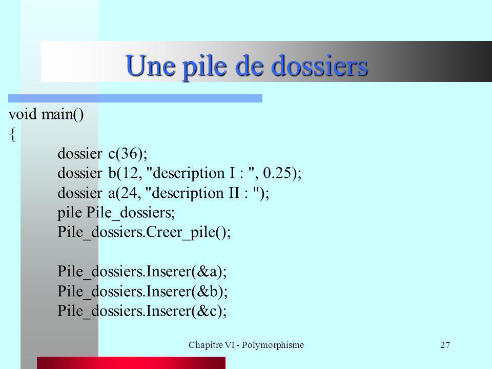 Chapitre VI - Polymorphisme27 Une pile de dossiers void main() { dossier c(36); dossier b(12,