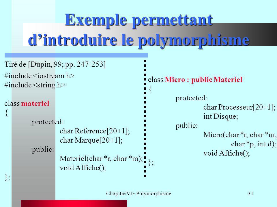 Chapitre VI - Polymorphisme31 Exemple permettant d'introduire le polymorphisme Tiré de [Dupin, 99; pp. 247-253] #include class materiel { protected: c